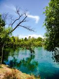 Idyllic lake in front of the Jade Snow Mountain in Lijiang, Chin stock image