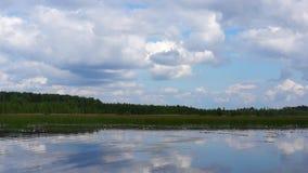 Idyllic lake landscape stock video footage