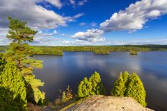 Idyllic lake scenery in Sweden Royalty Free Stock Photos