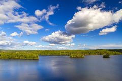 Idyllic lake scenery in Sweden Stock Photo
