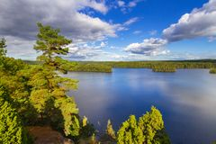 Idyllic lake scenery in Sweden Stock Images