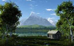 Idyllic Landscape. This image shows a idyllic landscape with a little cabin in spring stock illustration