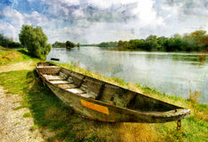 Idyllic landscape. Pictorial scene with old boat - picture in painting style royalty free illustration