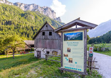 Idyllic landscape in the Alps, Roban farmstead, Slovenia. Robanov kot, Slovenia - 20 August 2017: Roban farmstead in Robanov kot, Slovenia is a protected Royalty Free Stock Photography