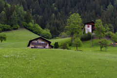 Idyllic landscape in the Alps in springtime with traditional mountain chalet and fresh green mountain pastures with flowers Royalty Free Stock Photography