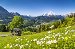 Idyllic landscape in the Bavarian Alps, Berchtesgaden, Germany. Beautiful mountain landscape in the Bavarian Alps with village of Berchtesgaden and Watzmann Royalty Free Stock Photography