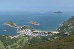 Idyllic landscape of Hong Kong. Viewed from `Dragon's Back` which has been voted the `Best Urban Hiking Trail in Asia royalty free stock images