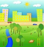 Idyllic landscape illustration. Idyllic natural landscape illustration with urban elements vector illustration