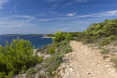Idyllic landscape in the Kamenjak National Park. The view of the bay at Cape Kamenjak royalty free stock photo