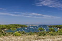 Idyllic landscape in the Kamenjak National Park. The view of the bay at Cape Kamenjak royalty free stock images