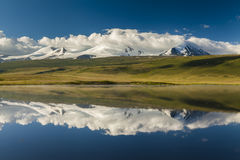 Idyllic landscape with snow-capped mountains Royalty Free Stock Photos