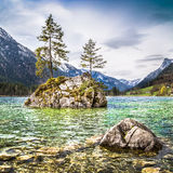 Idyllic landscape with trees on a rock, Bavaria, Germany Stock Photo