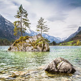 Idyllic landscape with trees on a rock at lake Hintersee, Bavaria, Germany Stock Photos
