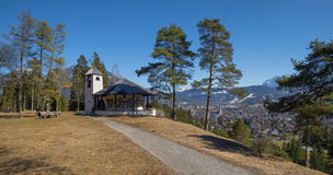 Idyllic lookout place above garmisch with war memorial chapel Stock Photo