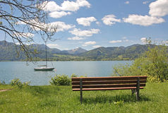 Idyllic lookout point at lake tegernsee with bench Stock Photography