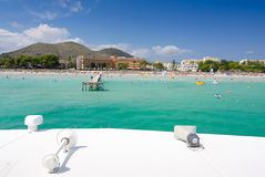 Idyllic Majorca beach view from the ferry Royalty Free Stock Image