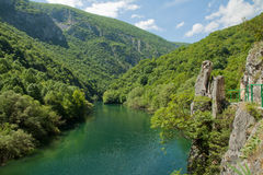 The idyllic Matka Lake, canyon next to the capital Skopje, Macedonia. The idyllic Matka Lake in The Canyon Matka National park, Macedonian Pearls Royalty Free Stock Images