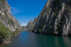 The idyllic Matka Lake, canyon next to the capital Skopje, Macedonia. The idyllic Matka Lake in The Canyon Matka National park, Macedonian Pearls Stock Photos
