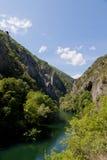 The idyllic Matka Lake, canyon next to the capital Skopje, Macedonia. The idyllic Matka Lake in The Canyon Matka National park, Macedonian Pearls Stock Photo