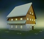 Idyllic mountain cottage window lighting at night Stock Photo