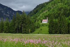 Idyllic mountain landscape in the bavarian alps with a meadow and a church royalty free stock image