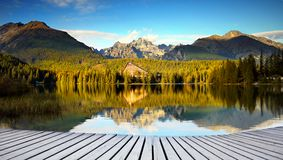 Idyllic Mountain Landscape , Lake Reflection View. An idyllic morning summer day at a mountain lake and its reflection on the surface. Panoramic landscape view Stock Image