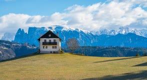 Idyllic mountain panorama near San Genesion. Bolzano, Trentino Alto Adige, Italy. The municipality of S. Genesio is located high above the provincial capital of royalty free stock photo