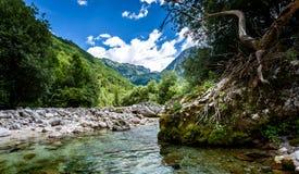 Idyllic mountain river in Lepena valley, Soca - Bovec Slovenia. Royalty Free Stock Photography