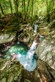 Idyllic mountain river in Lepena valley, Soca - Bovec Slovenia. Stock Photo