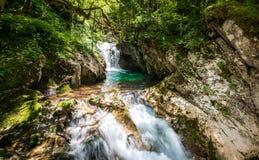 Idyllic mountain river in Lepena valley, Soca - Bovec Slovenia. Royalty Free Stock Image