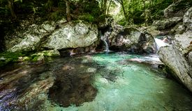 Idyllic mountain river in Lepena valley, Soca - Bovec Slovenia. Royalty Free Stock Images
