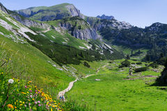 Idyllic mountain scene hiking in the mountains in a sunny day Austrian Alps, Rofan, Karwendel Royalty Free Stock Photos