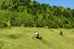 Idyllic mountain scenery with little church in the Alps. Austria, Zillertal High Road, Tirol. Tyrol Stock Photography