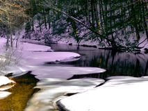 Idyllic mountain stream. Shade and sunshine along the bak of a snow surrounded river Royalty Free Stock Photos