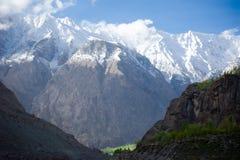 Idyllic Mountain Valley. Sunrise over mountain peak Northern area of Pakistan Royalty Free Stock Photo