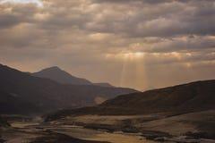 Idyllic Mountain Valley. Sunrise over mountain peak Northern area of Pakistan Stock Photography