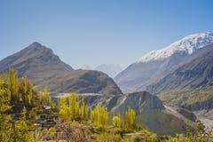Idyllic Mountain Valley. Sunrise over mountain peak Northern area of Pakistan Stock Image