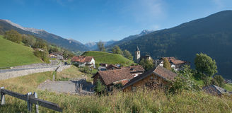 Idyllic mountain village luzein, switzerland Stock Photography