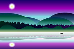 Idyllic mystery night landscape  background Stock Photo
