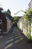 An idyllic, narrow street in Garnwerd, Holland. Garnwerd is a wierde village next to the Reitdiep in the municipality of Winsum in the Dutch province of Royalty Free Stock Photos
