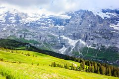 Idyllic Natural European Swiss Alpine Scenery Background, Jungfrau Region, Lauterbrunnen, Bernese Oberland, Bern, Switzerland. Idyllic Natural European Swiss stock images