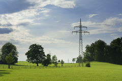 Idyllic nature with meadow, trees. Sky and power poles for electricity Stock Photo