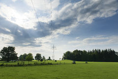 Idyllic nature with meadow, trees. Sky and power poles for electricity Stock Photography