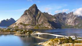 Scandinavia, Norway, Nordic Rugged Landscape, Lofoten Islands. Idyllic Norwegian Fjord with island mountains and bridge on Lofoten Islands, Norway. Scandinavia royalty free stock photo