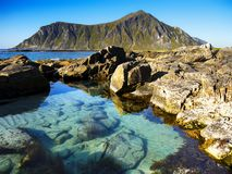 Scandinavia, Norway, Nordic Rugged Landscape, Lofoten Islands. Idyllic Norwegian Fjord with island mountains on Lofoten Islands, Norway. Scandinavia - Rugged stock photos
