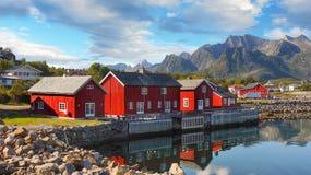 Scandinavia, Norway, Nordic Rugged Landscape, Lofoten Islands. Idyllic Norwegian Fjord with typical red log cabins on Lofoten Islands, Norway. Scandinavia stock photography