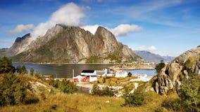 Scandinavia, Norway, Nordic Rugged Landscape, Lofoten Islands. Idyllic Norwegian Fjord with typical wooden log cabins on Lofoten Islands, Norway. Scandinavia stock photos