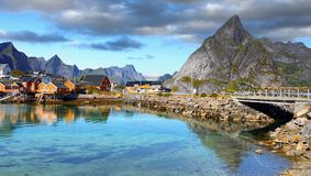 Scandinavia, Norway, Nordic Rugged Landscape, Lofoten Islands. Idyllic Norwegian Fjord with typical wooden log cabins on Lofoten Islands, Norway. Scandinavia royalty free stock image