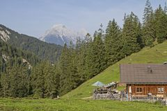 Oberbrunnalm in Karwendel mountains Stock Photography