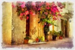 Idyllic old street. In Chania. Crete, Greece royalty free illustration